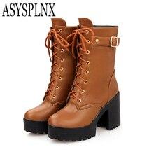 ASYSPLNX круглый носок толстый Обувь на высоком каблуке и платформе Модные женские ботинки «мартенс» Новая осень пряжка на ремешке черного и коричневого цвета на молнии, в западном стиле обувь