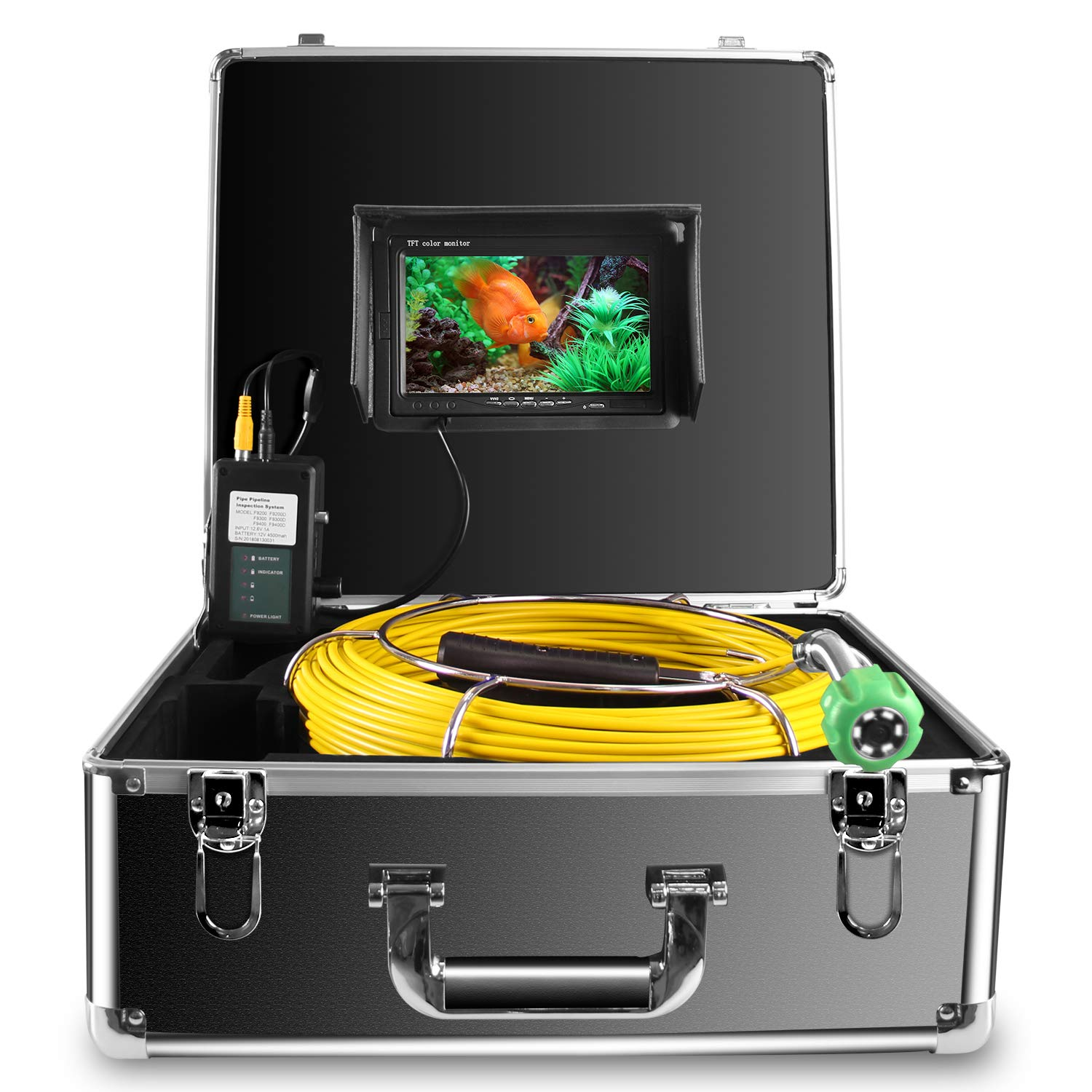 Duct Camera 65ft 20M IP68 Waterproof Sewer Inspection Camera Plumbing Drain Chimney HVAC Video Equipment 7 Inch LCD Monitor image