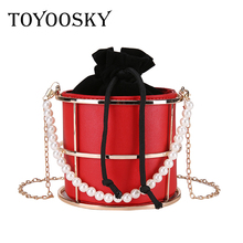 TOYOOSKY 2018 Summer Womens Birdcage Evening Bag Clutch Personality Pearl handle Frame Metal Bucket Mini Purse women Bolsas