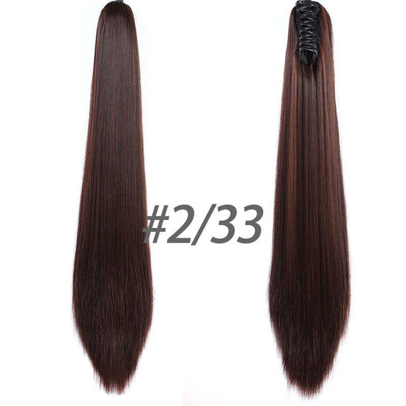 Cateleya Claw On Ponytail 24inch 9 Color Hair Extension Tail Hairpiece Long Straight Synthetic Women's Hair