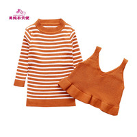 Spring Autumn New Children Sweaters Sets Girls Long Striped Sweater Harness 2 Pcs Casual Cotton Girls