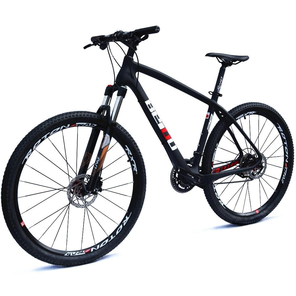 "BEIOU Carbon 29 Inch Mountain Bike 29er Hardtail Bicycle 2.10"" Tires SHIMANO ALTUS M370 27 Speed XC/Trail MTB T800 BOCB020-29"