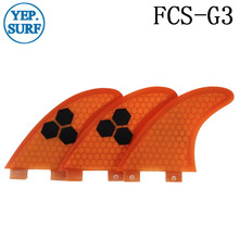 Surf Fins FCS G3 Fin Honeycomb Surfboard Fin Orange color surfing fin Quilhas thruster surf accessories new style carbonfiber orange carbon strip fcs ii surfboard fins thruster fin set 3 compatible m7 surf fin