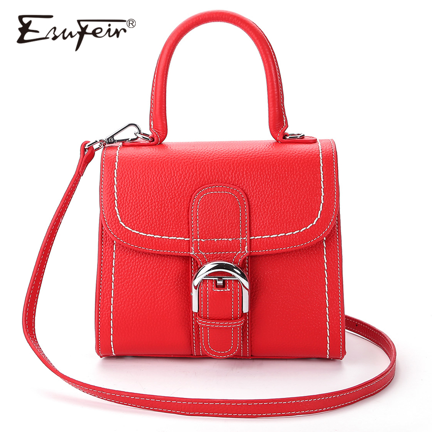 ESUFEIR Brand Genuine Leather Women Handbag Famous Design Top-handle Women Bags Single Shoulder Bag Fashion Women Crossbody Bag esufeir brand genuine leather women handbag cross pattern cow leather shoulder bag fashion design top handle trapeze women bag