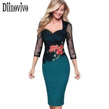 Vestidos Women Floral Embroidery Dress See Through Lace Bodycon Dress 3 4 Sleeve Plus size Work