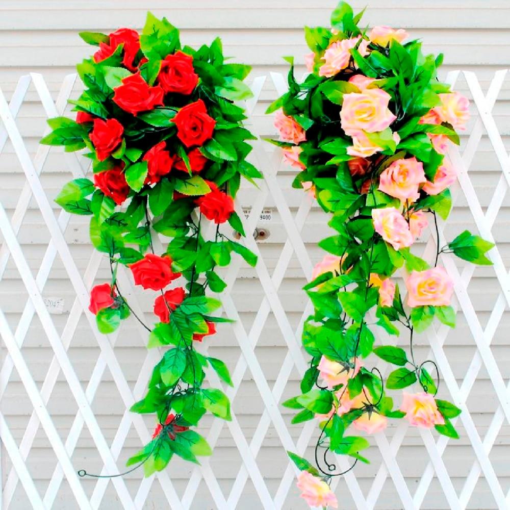 FENGRISE 2M Sakura Cherry Rattan Wedding Arch Decoration Artificial Vine Flowers Silk Ivy Bride Room Decoration Hanging Garland in Artificial Dried Flowers from Home Garden