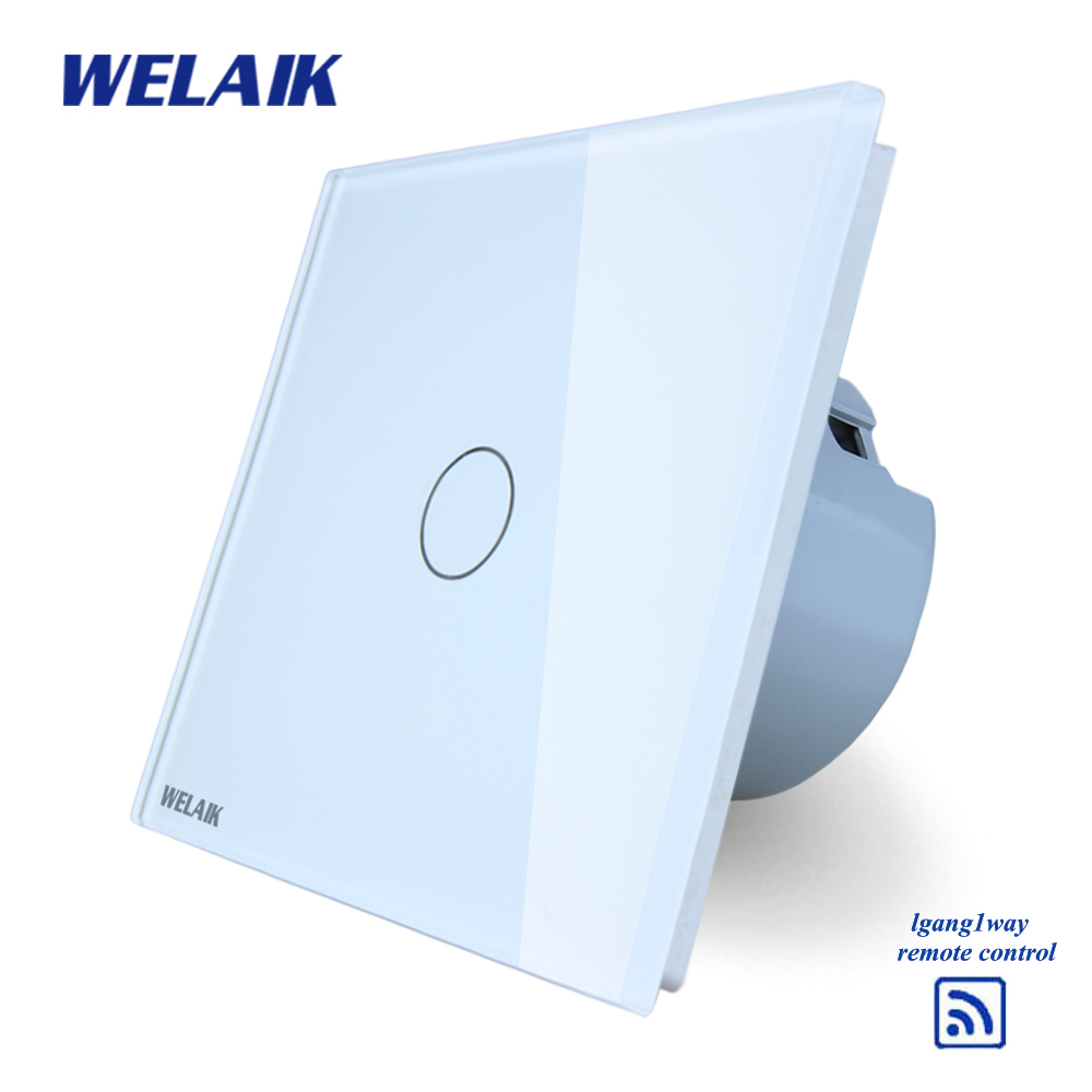 WELAIK  Glass Panel Switch White Wall Switch EU remote control Touch Switch Screen Light Switch 1gang1way AC110~250V A1913CW/B makegood eu standard smart remote control touch switch 2 gang 1 way crystal glass panel wall switches ac 110 250v 1000w