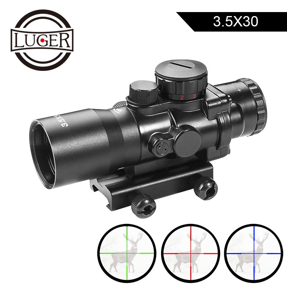 LUGER 3.5x30 Tactical Red Green Blue Riflescope Optic Sight Hunting Scopes With 20mm Rail Mount For Airsoft Air Rifle