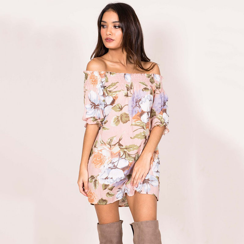 Women Dress 2017 Summer Sexy Mini Dresses Off Shoulder Slash Neck Butterfly Sleeve Boho  ...