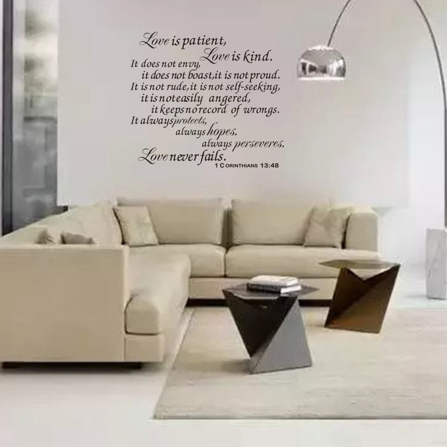 Bible Wall Stickers Love Is Patient Scripture Quote Decal Verses Art Decor