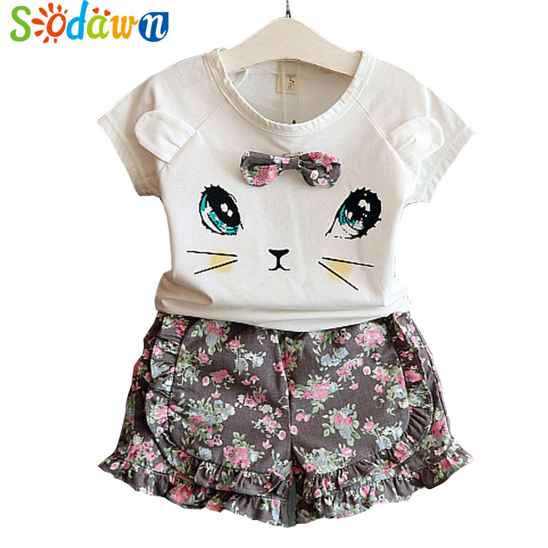 Sodawn Girl's Clothes 2017 Summer New Baby Girls Clothing Set Children's Clothes Girls T-Shirt + Shorts 2Pcs Flower Baby Dress