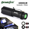 High Quality  Super Bright Zoomable 2000LM   Q5 AA/14500 3 Modes LED Flashlight Torch