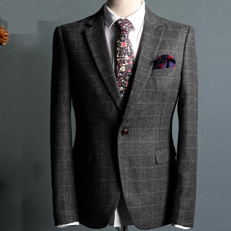 Only jacket) Dark grey plaid Fabrics Wedding Suit 2017 Business ...