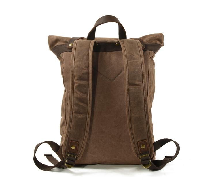 back Canvas & Leather Vintage Backpack