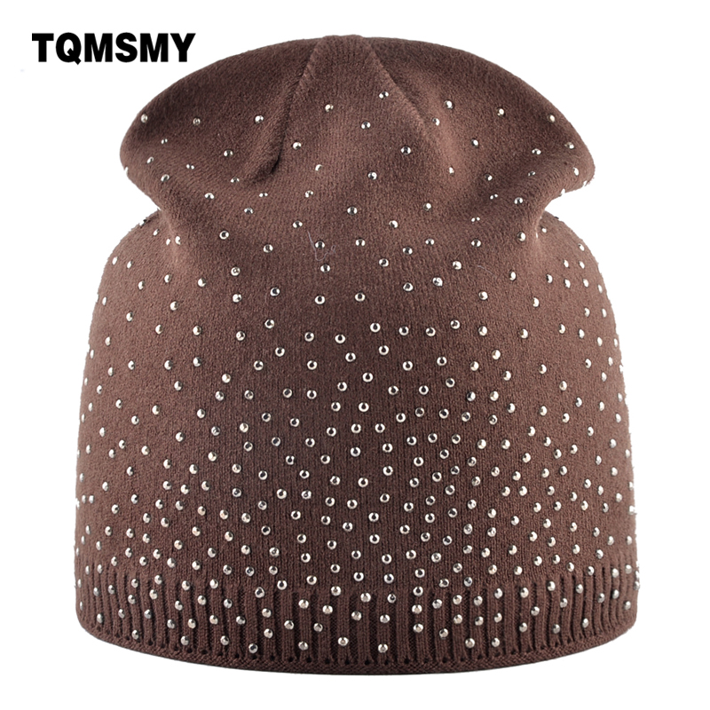841cc4c465b8a Detail Feedback Questions about Casual Skullies autumn Knitting wool hat  women s beanies Ladies Rhinestone cap winter hats for women bone turban  gorros on ...