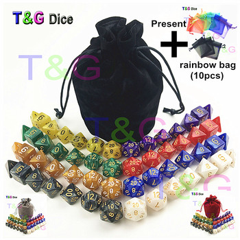 56 PCS/Tas MTG RPG D & D DND Dadu Permainan Set 8 Set D4 D6 D8 D10 D12 d20 Marmer Akrilik untuk Hadiah