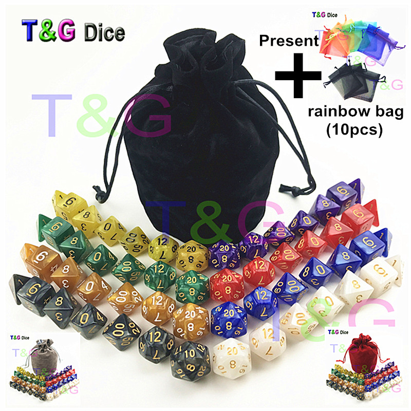 все цены на 56 pcs/bag MTG RPG D&D DND Dice Board Game set of 8 sets dice D4 D6 D8 D10 D12 D20 marbling acrylic dice game for Gift