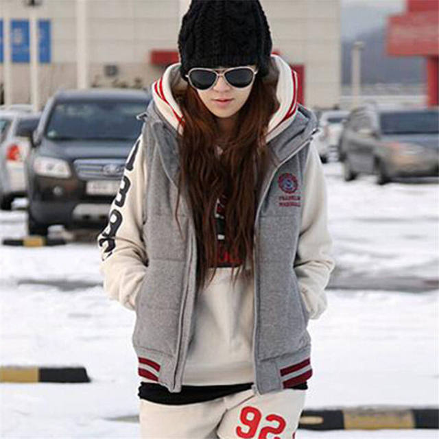 2017 Women Autumn Thicken Warm Cotton Fashion Sleevess Winter Colete Waistcoat Grey Hooded Zipper Plus Size Lady Vest Coat MZ728