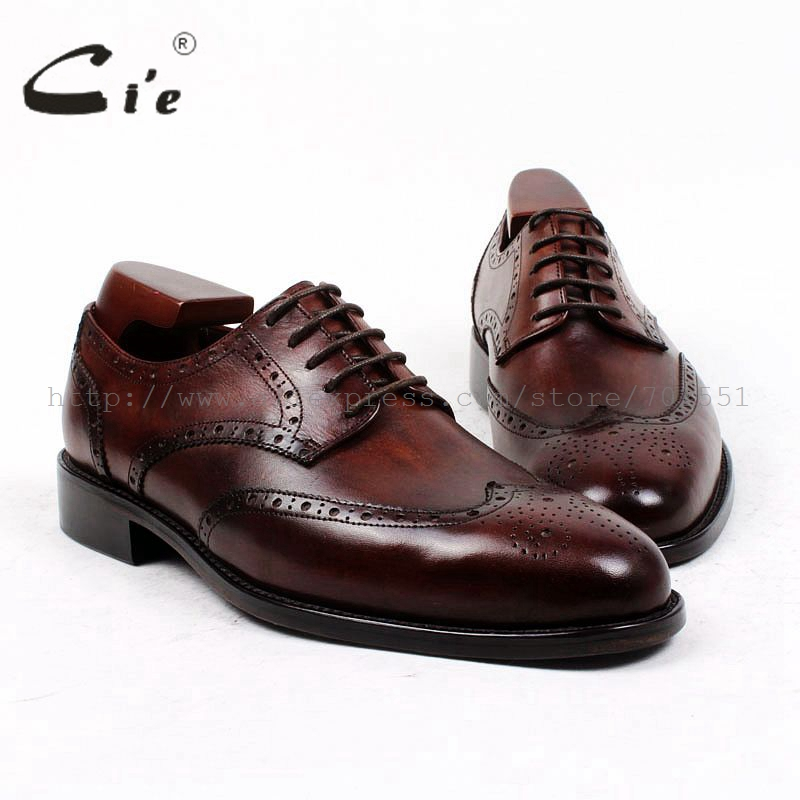 cie Round Toe Bespoke Custom Handmade Lacing Patina Casual Calf Leather Outsole Full Brogues Flats Derby Color Brown Shoe D131