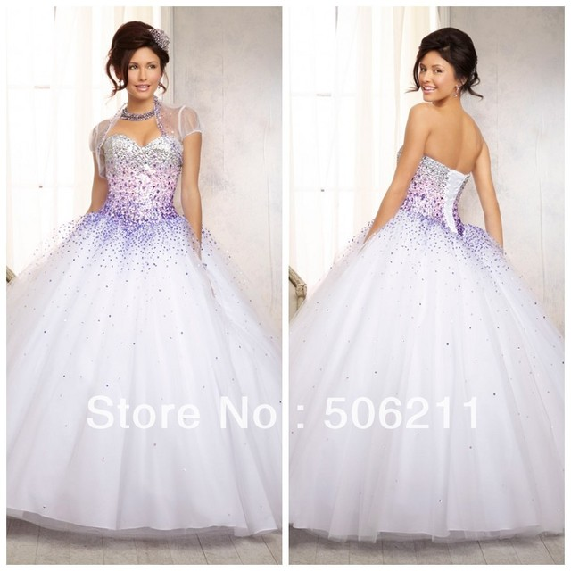 b16090820c80 Fashion New Silver Purple Sequins Bodice Tulle Ball Gowns White Quinceanera  Dresses Special Occassion Formal Dress Gowns ED179