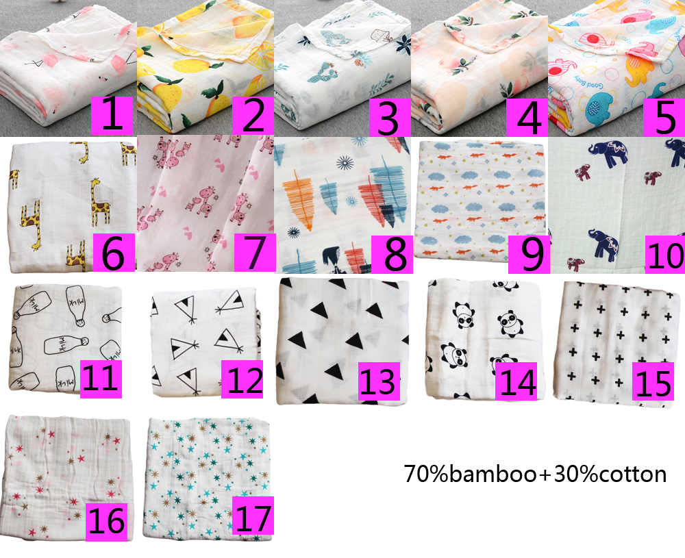 Купить с кэшбэком Bamboo Cotton Muslin Baby Swaddles for Newborn Baby Blanket Gauze Supplies Children Dream Blankets Infant Swaddle Towel 120*120