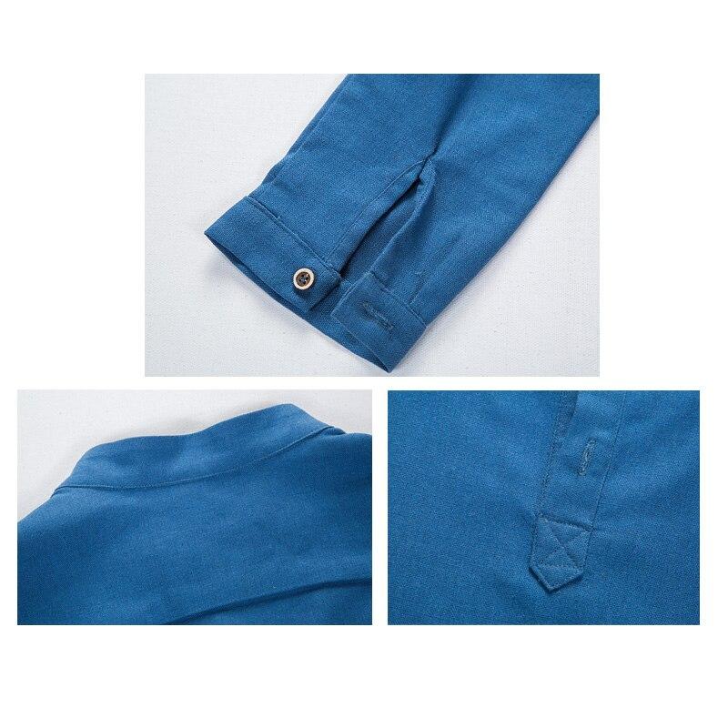 Linen long sleeve casual mens shirts  4