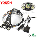 2016 New Boruit 3LED  XM-L XML T6 +R5 LED 5000Lm Headlamp Rechargeable Headlight Head lamp linterna frontal+ AC /Car Charger