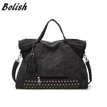 Bolish Fashion Autumn And Winter Soft PU Leather Women Bag Rivet Tassel Shoulder Larger Size Travel Handbag