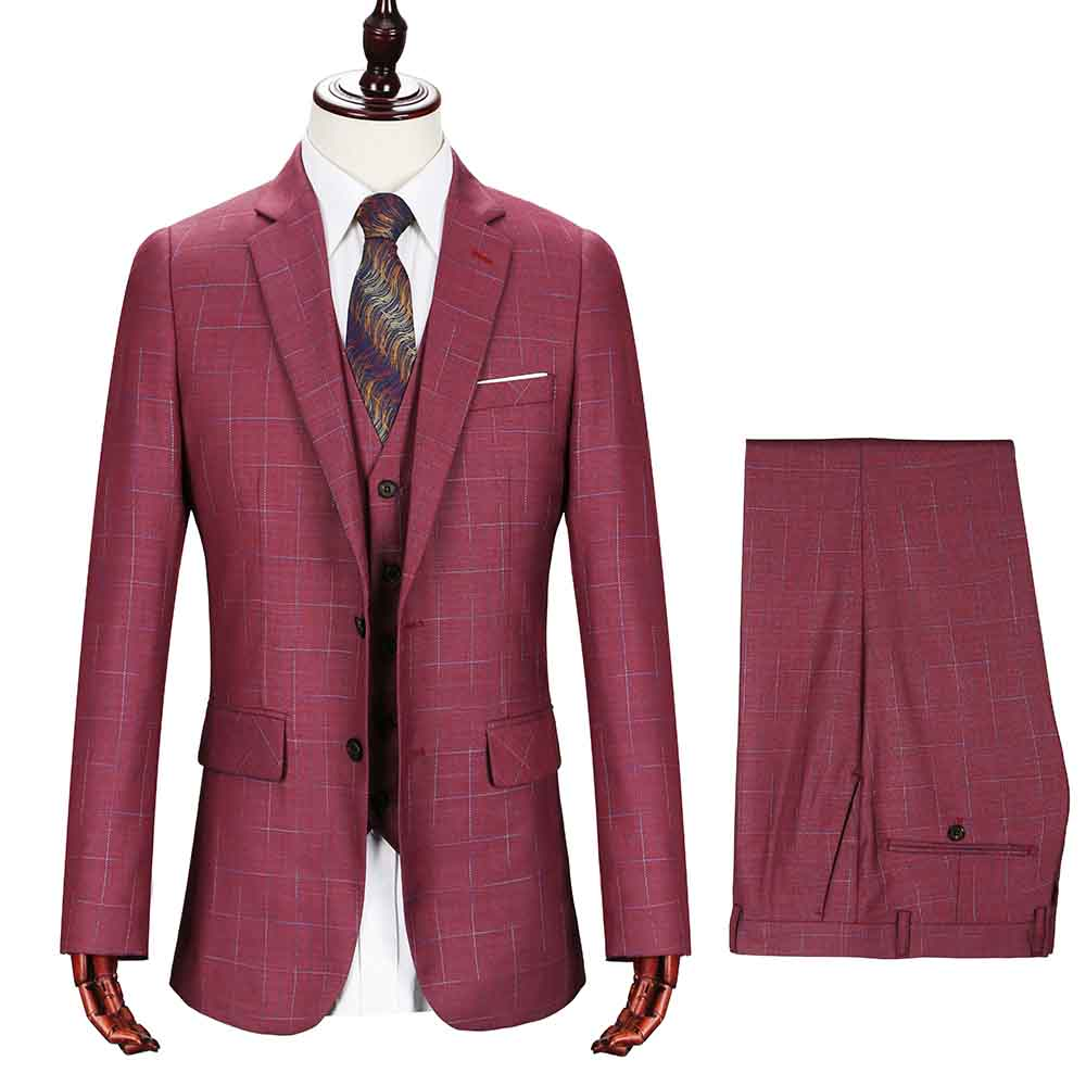 2018 New Men Suits Brand Groomsmen Men Suit Shawl Rose Red Groom Tuxedos Ivory Mens Suits