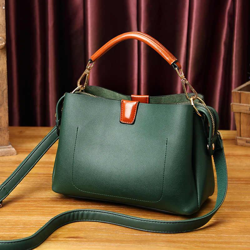 Alami Kulit Sapi Kulit Tas Tangan Fashion Wanita Boston Kulit Asli Vintage Bahu Messenger Tas Wanita Laptop Tote Baru T30