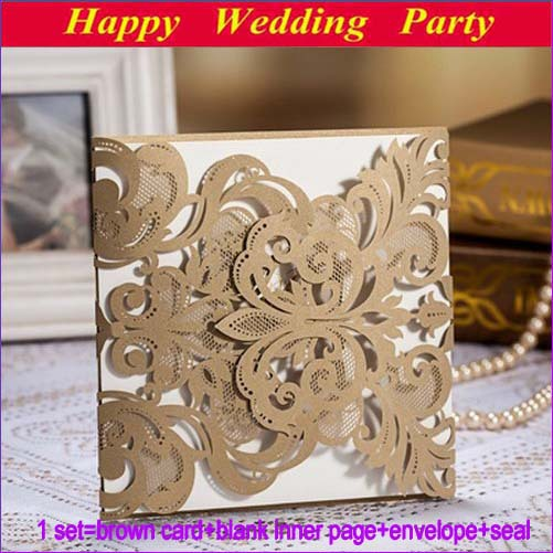 Elegant Laser cut Wedding Invitations 2014 Design Brown Flower
