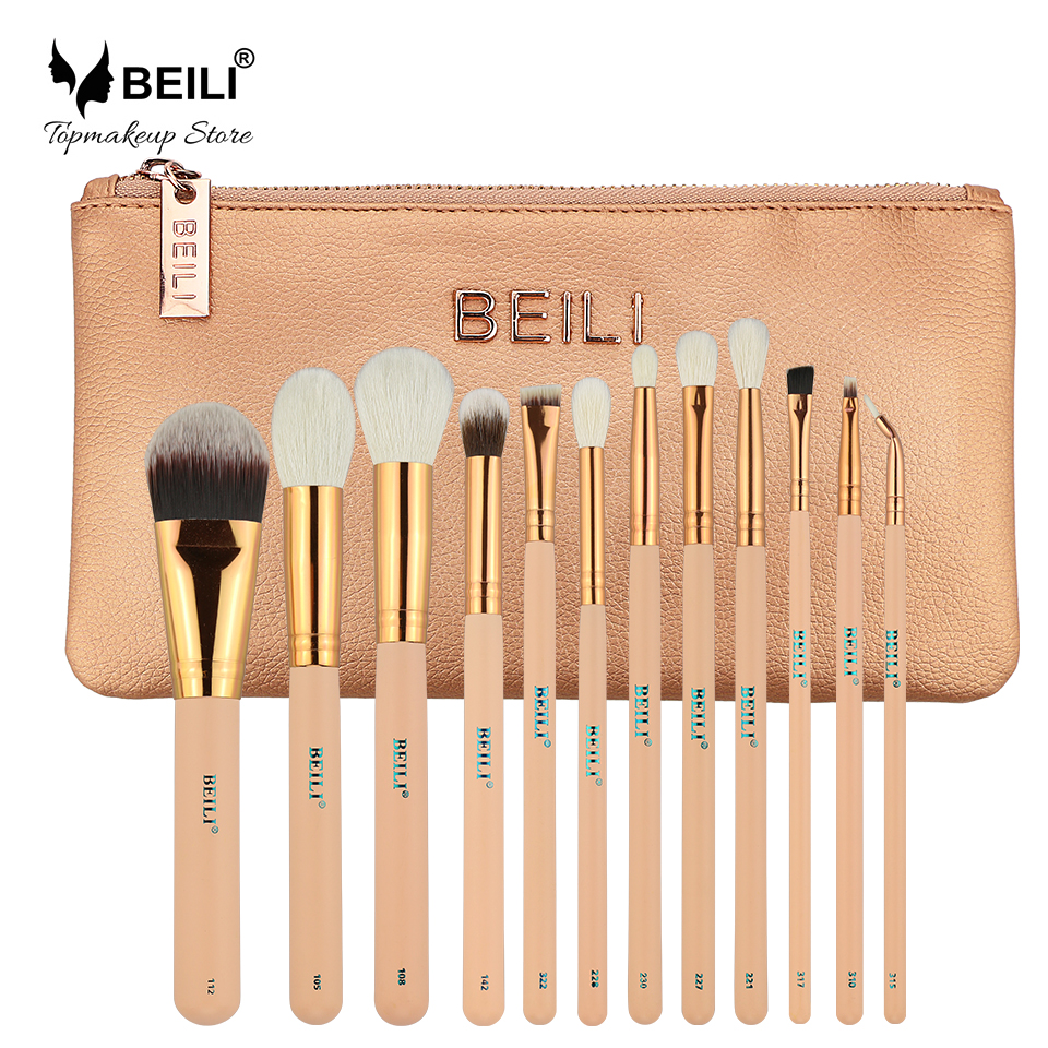 BEILI Pink 12 pieces Goat Hair Essential Premium Foundation Eye shadow Blush Powder Highlighter Concealer Makeup Brush Set цена