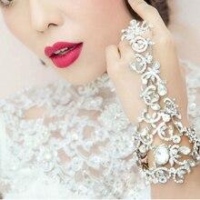 Bridal Chain Bracelet Wedding Dress Accessories Bridal Rhinestone Fashion Hair Accessories Bridemaid Hand Accessories Bracelets