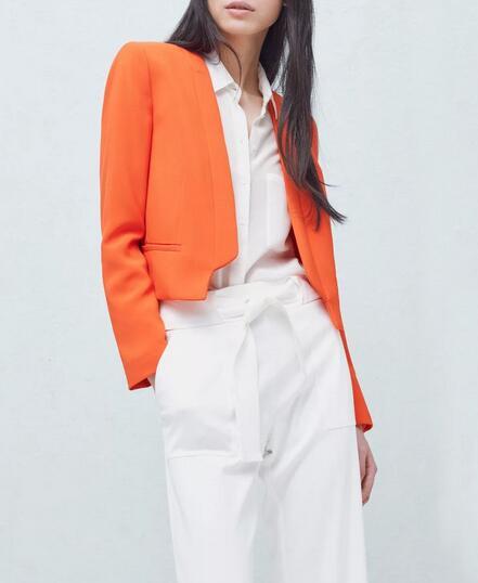 VogaIn 2016 New Cropped Blazer Long Sleeved Slim Collarless Coat Black White Orange Red NAVY SALE