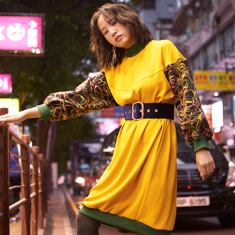 VERRAGEE Brand 2018 New Autumn Winter Splice long sleeve Mandarin collar loose Casual Sweater vintage Long Dress