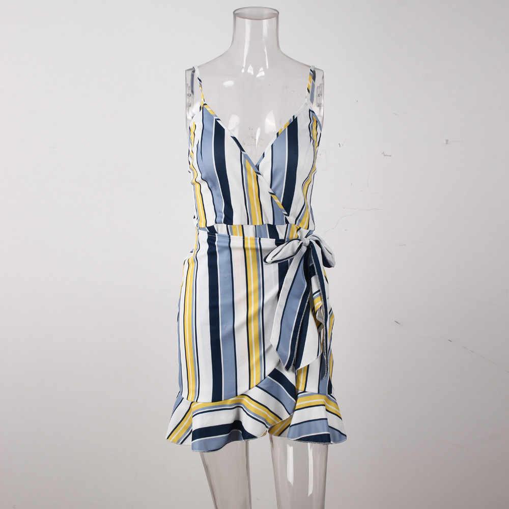 Letnia sukienka damska 2019 nowych moda damska bez rękawów Spaghetti w paski koktajl plażowa na szczupłą sylwetkę Mini sukienka krótkie sukienki