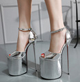 "Moda HOT 8.6 ""de metal ultra fina extrema SALTO alto plataforma sapatas das mulheres da bomba do salto bomba peep toe bracelete lado aberto"