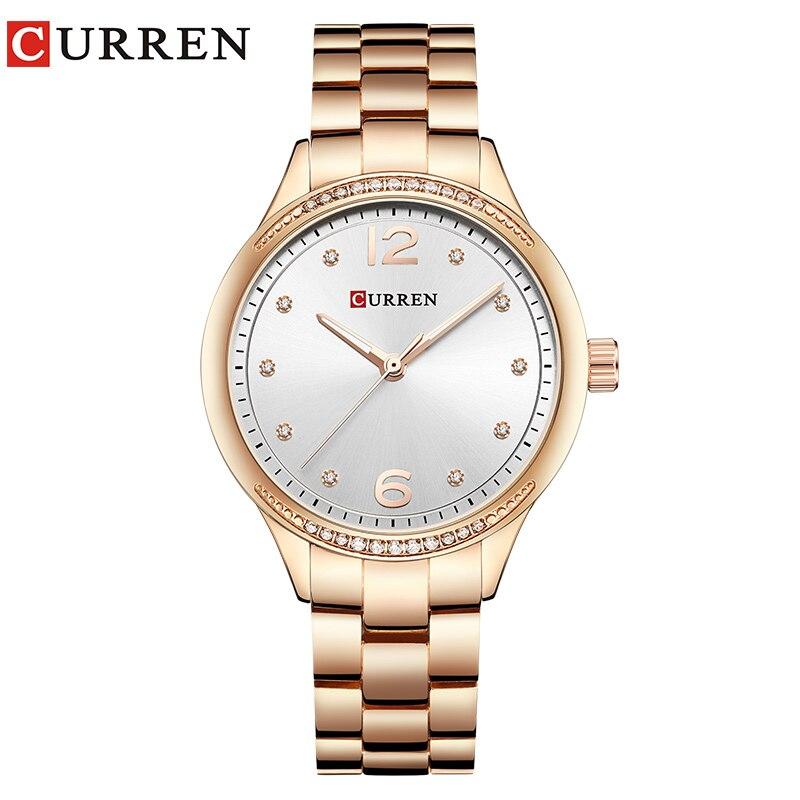 CURREN Watch Women Luxury Brand  Fashion Dress Ladies Wristwatch Rhinestone Quartz Clock Stainless Steel Waterproof Montre Femme