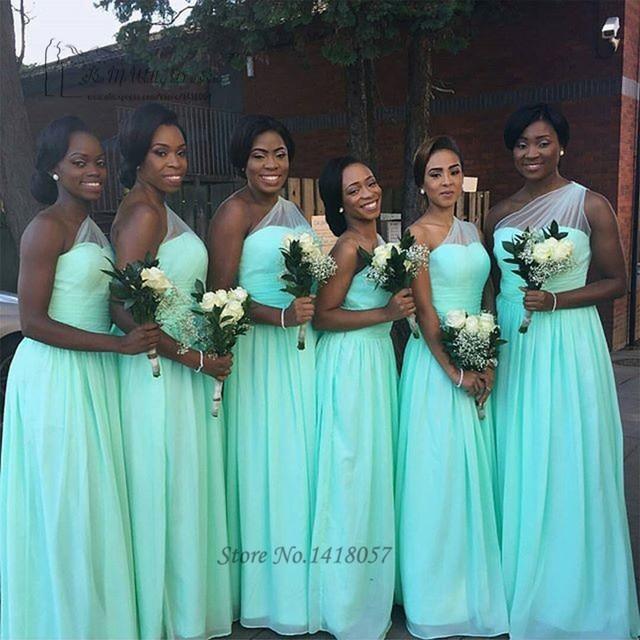 Vestido Para Madrinha Teal Mint Green Bridesmaid Dresses Long Wedding Party  Dress one Shoulder Custom Made 62d3e856f47c