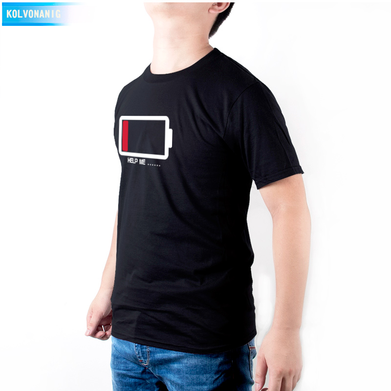 KOLVONANIG Brand Clothing Men 39 s T Shirt HELP ME Low Electricity Battery Printed T Shirts Male Short Sleeve O Neck Tshirts TO 34 in T Shirts from Men 39 s Clothing