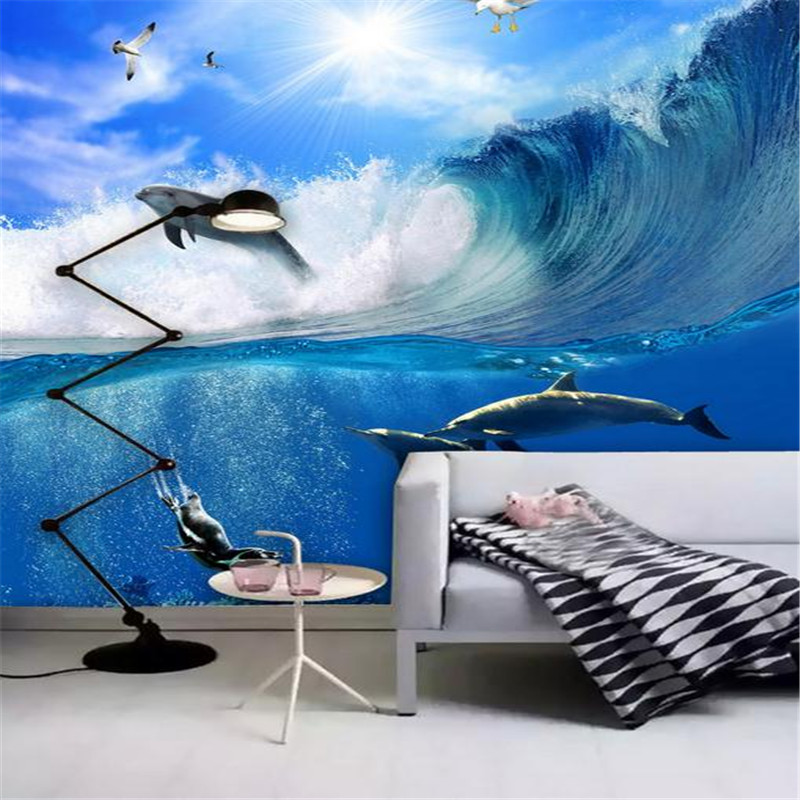 custom 3d stereoscopic modern photo wallpaper living room bedroom TV background wall mural landscape sea dolphins wallpaper custom 3d stereoscopic large mural wallpaper wall paper living room tv backdrop of chinese landscape painting style classic