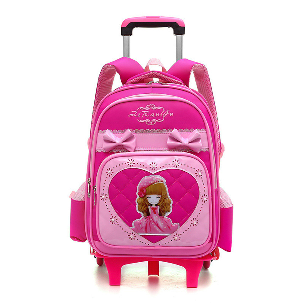 Kids girls Trolley Schoolbag Luggage Wheeled Book Bags Backpack Latest Removable Children School Bags With 2/3 Wheels Stairs kids girls trolley schoolbag luggage wheeled book bags backpack latest removable children school bags with 2 3 wheels stairs