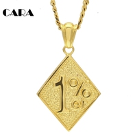 CARA New Gold màu Zinc alloy 1% er mặt dây & vòng cổ mens thời trang hip hop biker vòng cổ mặt dây chuyền trang sức quà tặng CAGM0047