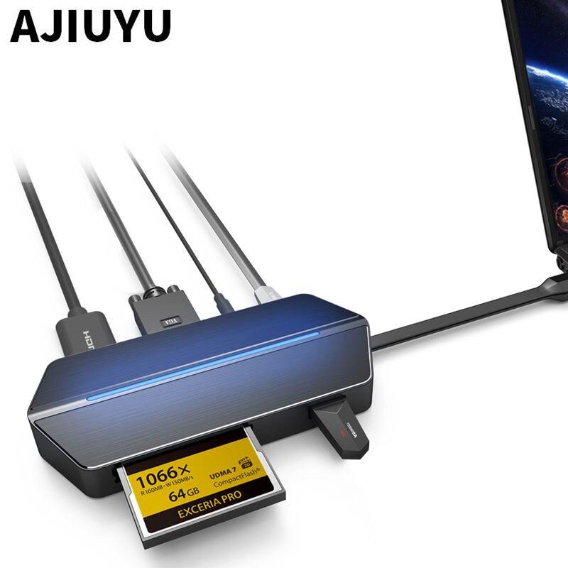 Type-c HDMI to VGA Converter USB-C HUB RJ45 Card Reader PD Audio Multiport For Lenovo YOGA 920 910 900 Yoga 720 730 710 Notebook