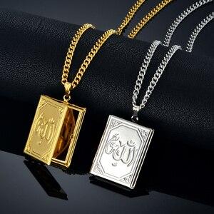 Image 1 - Pendentifs et pendentifs médaillon flottant bijoux islamiques, chaîne en acier inoxydable couleur or, Vintage arabes Allah