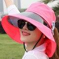 Envío Gratis sol del verano sombrero de protección UV sombrero de la flor femenina superventas señora de las mujeres de playa plegable sombrero del verano