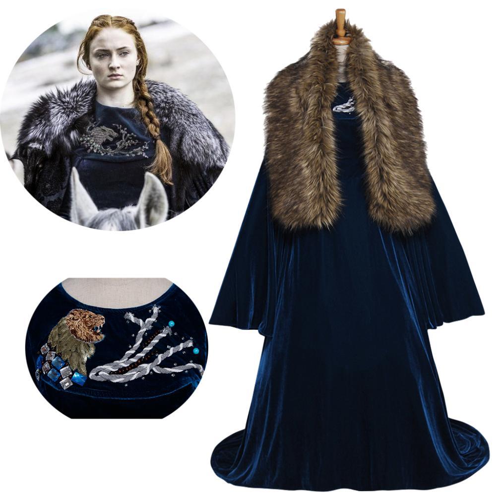 Cosplaydiy Game of Thrones Sansa Stark Cosplay Costume Green Velvet Women Medieval Victorian Dress Halloween Clothes Custom Made
