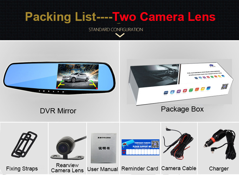E-ACE Car Dvr 1080P Dual Lens Dash Camera Rear Mirror Digital Recorder With Rearview Camera Video Recorder Camcorder Registrar 27