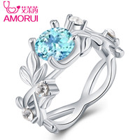 AMORUI Fashion Floral Blue CZ Stone Queen Ring Silver Leaf Blue Crystal Ring Gift Engagement/Wedding Party Rings for Women 4
