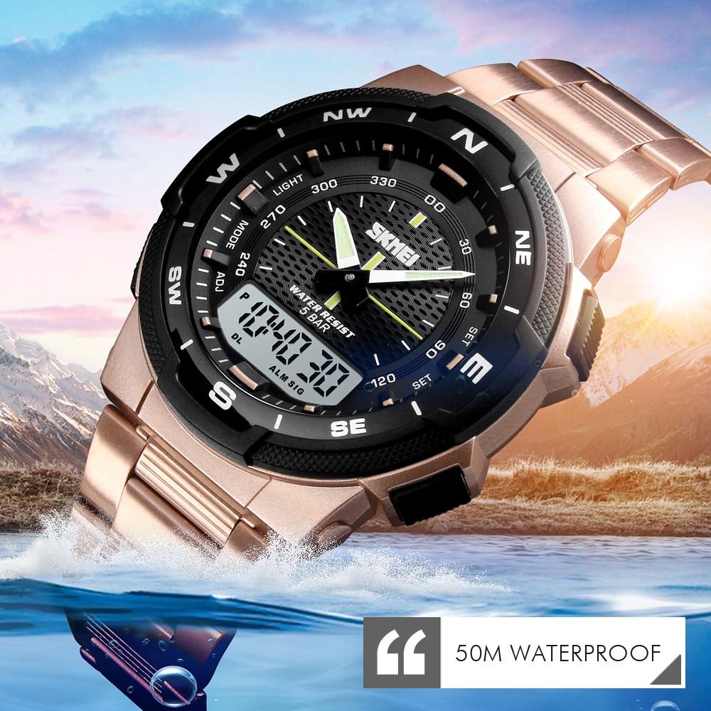 0730b831aa9e Reloj deportivo al aire libre marca SKMEI 50 m impermeable Digital cuarzo  doble tiempo militar relojes